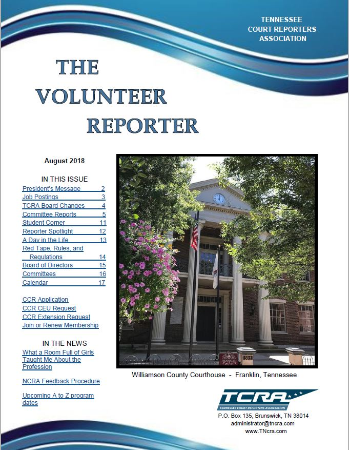 Welcome To The Tennessee Court Reporters Association